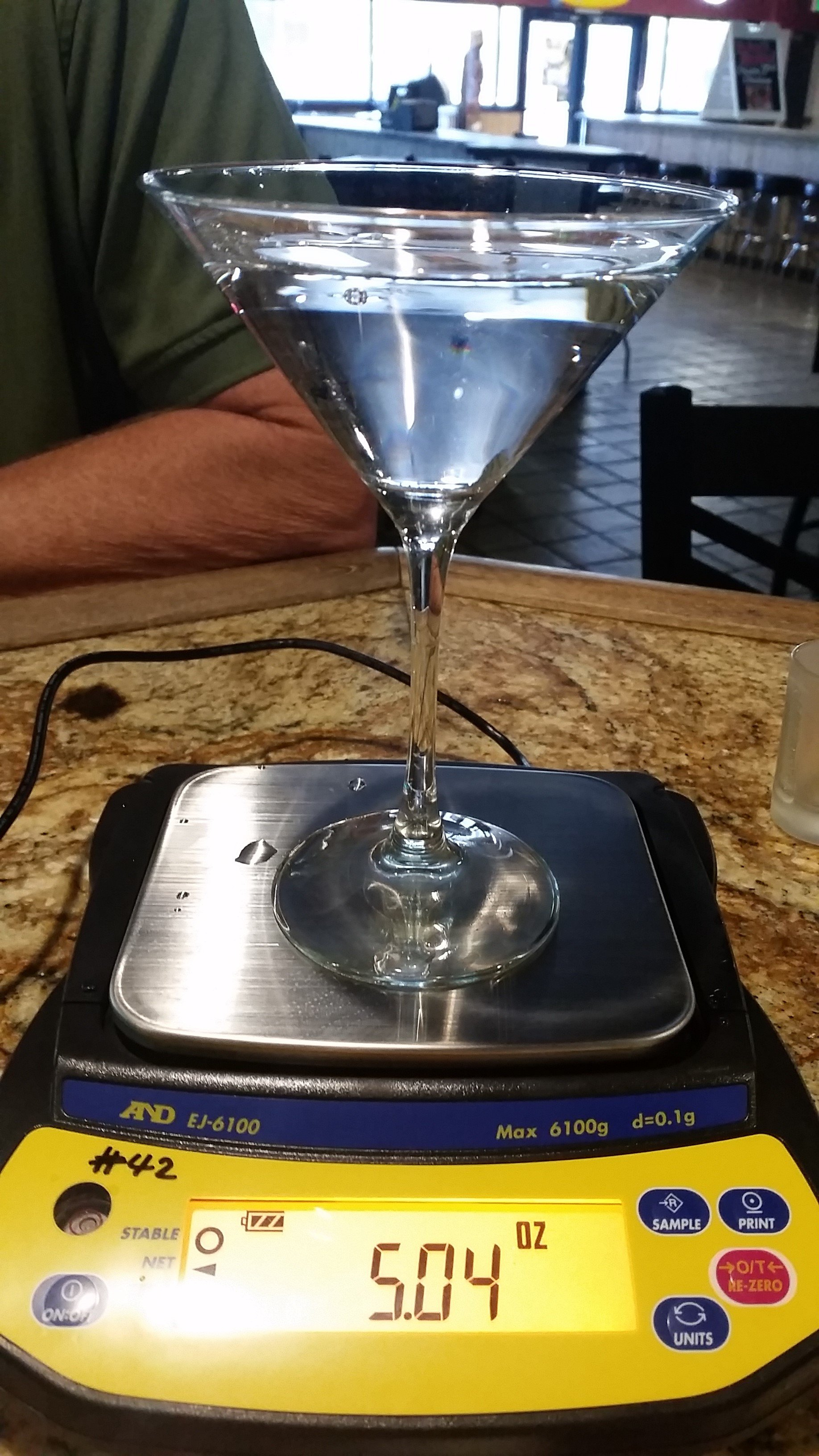 portion size for martini in an oversized glass
