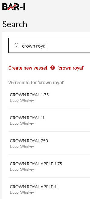 searching for the correct Crown Royal option in a bar inventory system dropdown menu