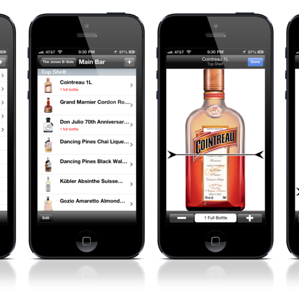 using a liquor inventory app to count bottles by tenthing