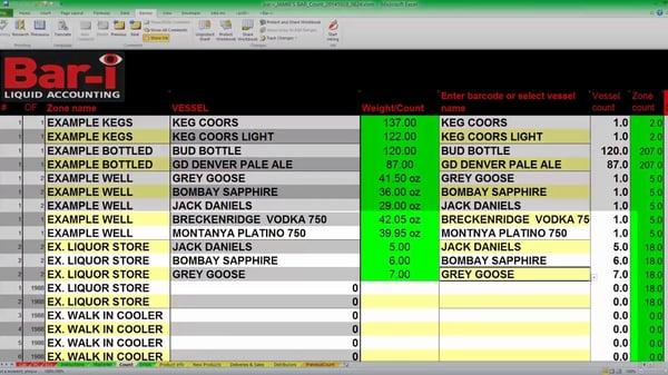 Bar-i inventory spreadsheet