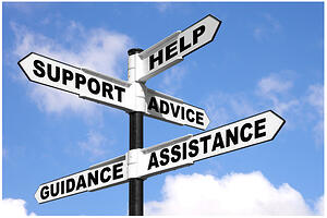 road sign showing the help, support, advice, guidance and assistance provided by full service bar inventory systems