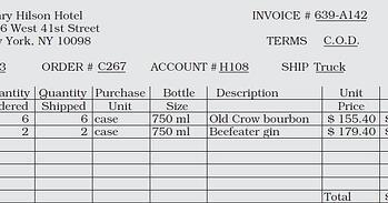 reconciling liquor invoices - Bar-i inventory