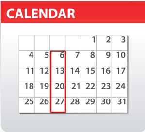 calendar showing that bar inventory will be counted every Tuesday