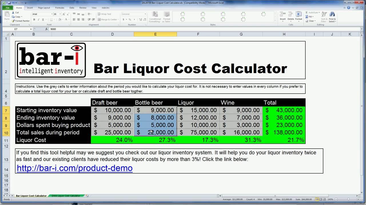 Bar-i free liquor cost calculator