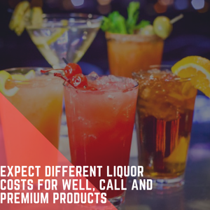 liquor cost of well, call and premium drinks